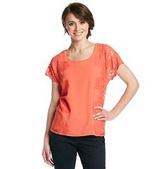Product: Design365 Short Sleeve Lace Boxy Tee With Layering Cami Knit