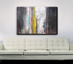 FAMILY ROOM OVER COUCH Abstract Art Abstract Painting Gray Grey by RedMoonStudioArt