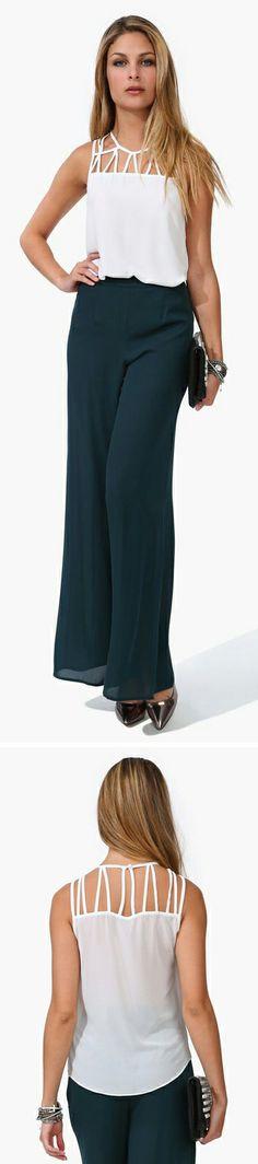 White Top + Navy Pants
