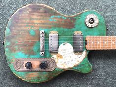 Custom electric guitars and basses made from local and salvaged materials Guitar Inlay, Guitar Art, Cool Guitar, Fender Squier, Fender Telecaster, Custom Electric Guitars, Custom Guitars, Guitar Collection, Guitar Body