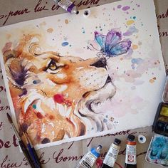 Colorful Watercolor Paintings - Nature-Inspired Watercolor Paintings By Sillier. - Colorful Watercolor Paintings – Nature-Inspired Watercolor Paintings By Sillier Than Sally – Watercolor Paintings Nature, Watercolor Drawing, Watercolor Animals, Painting & Drawing, Colorful Paintings, Lion Painting, Painting Portraits, Watercolor Water, Watercolor Artists