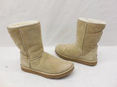 UGG Australia Womens 5825 Classic Short Sand Suede Shearling Boots Size 7 #UGGAustralia #SnowWinterBoots #Casual