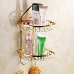 67.49$  Watch now - http://alik39.shopchina.info/go.php?t=32371855337 - Luxury Gold Color Brass Wall Mounted Bathroom Accessory Bath Dual Tier Large Corner Shower Storage Basket aba098  #buychinaproducts