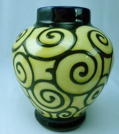 2) Rare DITMAR URBACH Czech Art Deco Vase, Blue Slip Glaze with Multicolor Swirls, 15cm