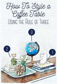 How to clean up and style a cluttered coffee table using the Rule of Three. Love how she uses stacking and trays to make everything look so neat.