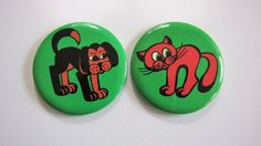 Lovely  cat and dog brooch /badge/ pinback button set by RETROisIN