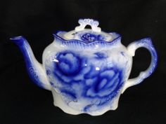19th Century Flow Blue China Dudley MS& Co Floral Teapot