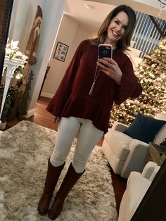 Bell sleeve blouse, white jeans and riding boots.  12 Cozy Winter Outfits + Where to Shop for Them http://getyourprettyon.com/12-cozy-winter-outfits-shop/?utm_campaign=coschedule&utm_source=pinterest&utm_medium=Alison%20Lumbatis%20%7C%20Get%20Your%20Pretty%20On&utm_content=12%20Cozy%20Winter%20Outfits%20%2B%20Where%20to%20Shop%20for%20Them