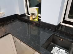 Installed Another beautiful install of the Nero Venata quartz. This black marble effect quartz worktop is one of our favourite new colours, it has so much impact and looks very expensive. Marble Effect, Black Marble, Cambridge, Granite, Colours, Rock, Locks, Rock Music, Stone