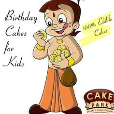 Special Cake for Kids #Birthday. Chhota Bheem photo is printed with #edible colors on the Cake. 100% #Edible #Cake. Can be made in any flavor of your choice
