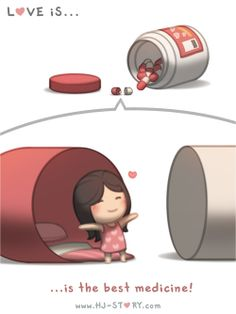 Love Facts : Picture Description Check out the comic HJ-Story :: Love is… The best medicine! Hj Story, Love Cartoon Couple, Cute Love Cartoons, Cute Love Stories, Love Story, Love Is Sweet, What Is Love, Ah O Amor, Cute Comics