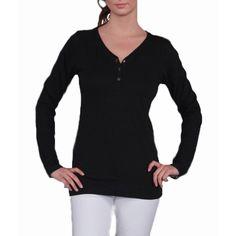 Branded Bull Women's Long Sleeve 3 Snap Henley Solid Top