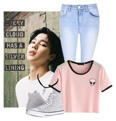 """""""Movie with Jimin"""" by btskpopoutfits ❤ liked on Polyvore featuring Glamorous, Converse, Silver Lining, imagine, kpop, bts, parkjimin and idealtype"""