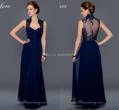 Wholesale Evening Dresses - Buy 2014 Gorgeous High Neck Evening Dresses A-Line Sheer-Illusion Back Royal Blue Chiffon Appliques Beads Pleated Evening Prom Gowns MC014, $132.0 | DHgate