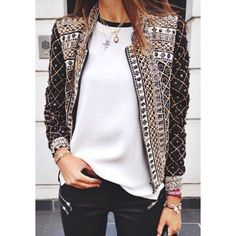 Trendy Style Stand Collar Full Print Long Sleeve Coat For Women