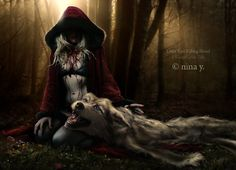 Hot Photo Manipulations by Nina-Y.Little Red as Vamp - getting her own back at big bad wolf? Red Riding Hood Wolf, Red Ridding Hood, Bark At The Moon, Howl At The Moon, Dark Art Photography, She Wolf, Big Bad Wolf, Fairytale Art, Gothic Art