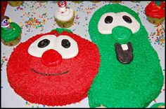 My mother and I made my daughter's Birthday Cake and cupcakes featuring the Veggie Tales. Miss Add is a mega fan of the veggie tales and so we have First Birthday Crafts, 3rd Birthday Cakes, 4th Birthday Parties, Baby Birthday, Birthday Ideas, Kid Parties, Veggie Tales Cake, Veggie Tales Birthday, Veggie Tales Party
