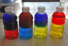 Color Mixing Discovery Bottles! Kids shake the bottles to discover what color they make when mixed together.