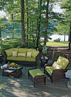 Beautiful backyard....I like the patio furniture