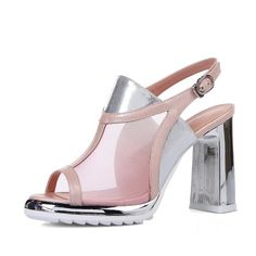 AllhqFashion Women's Open Toe High Heels Blend Materials Solid Sandals with Chunky Heels ** Check this awesome image  : Hiking sandals