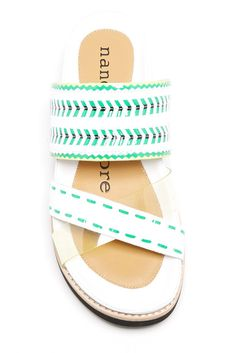 Fun, chevron mint platform sandal.