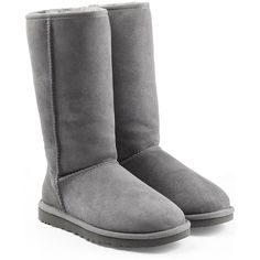 UGG Australia Classic Tall Suede Boots ($250) ❤ liked on Polyvore featuring shoes, boots, grey, grey knee high boots, round cap, suede boots, ugg® australia boots and tall boots