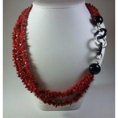 Collana multifilo in corallo, agata nera e argento 925