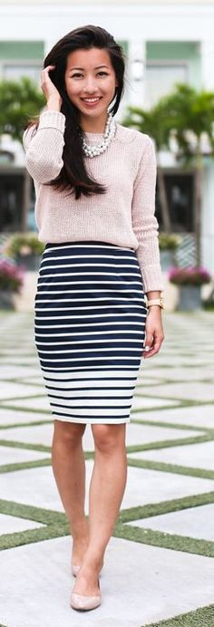 Nude And Stripes Chic Style by Extra Petite