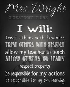 Classroom Rules Wall Art  Teacher apprication gift by wmdesigns139  I especially like the part about allowing teachers to teach and student to learn.
