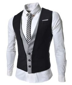 Casual Style V-Neck Belt Embellished Sleeveless Cotton Blend False Two Pieces Waistcoat For Men