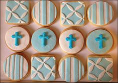 Boy, blue and white Christening Cake Boy, Baptism Cookies, Dessert Buffet, Cakes For Boys, Boy Blue, Confirmation, Communion, Favors, Blue And White