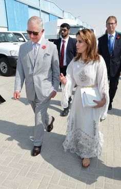 Prince Charles Photos Photos - Princess Haya of Jordan (R) walks with Prince Charles, Prince of Wales as they tour the International Humanitarian City to see the innovation and best practice in humanitarian aid delivery on November 8, 2016 in Dubai, United Arab Emirates. Prince Charles, Prince of Wales and Camilla, Duchess of Cornwall are on a Royal tour of the Middle East starting with Oman, then the UAE and finally Bahrain. - The Prince of Wales and The Duchess of Cornwall Tour Abu Dhabi…