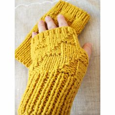 Mustard Yellow Knit Fingerless Gloves by TickledPinkKnits