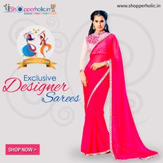 Navratri Dhoom: Exclusive Collection of Designer Sarees, Exclusive available at https://www.shopperholic.in/ #navratri #clothing #latest_trends #womens #onineshopping #shopping #designer_sarees #fashion