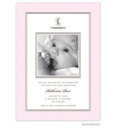 picme!prints Lovely Baby Pink Girl Photo Birth Announcement Card