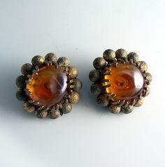 Vintage Miriam Haskell Amber Glass Earrings – Vintage Lane Jewelry