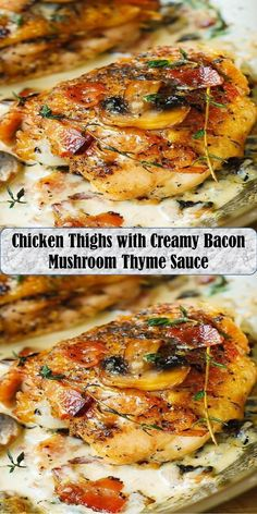 Chicken Thighs with Creamy Bacon Mushroom Thyme Sauce Bacon Mushroom, Bacon Stuffed Mushrooms, Chicken Thighs, Salmon Burgers, Love Food, Sweet Home, Wings, Ethnic Recipes, Stuffed Mushrooms With Bacon