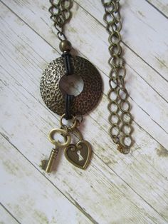 Key Steampunk Pendant Bronze Pendant by BrownBeaverBeadery on Etsy
