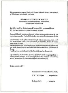 Notification and Funeral arrangements for General Stanislaw Maczek. laid to rest with his soldiers in Breda