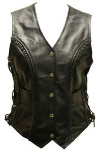 Weaver Mens Real Leather Lace Sided Braided Motorcycle Waistcoat Vest