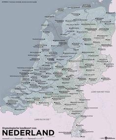 De etymologische landkaart van Nederland.