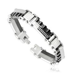 Shop for Stainless Steel Half Tribal Logo and Half Segmented Blocks Bracelet mm) - 9 in. Get free delivery On EVERYTHING* Overstock - Your Online Jewelry Shop! Jewelry Bracelets, Bangles, 316l Stainless Steel, Spikes, Type, Link, Fashion, Bracelets, Cnd Nails