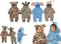 Baby Animal Design Boy Girl Fleece Snowsuit ,Giraffe Zebra Elephant Rabbit 3-24M in Outerwear   eBay