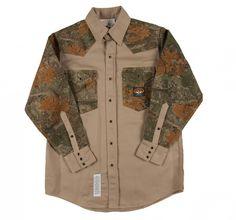4fbf88727c8e Rasco Flame Resistant Khaki-Camo Shirt FR Western with Snaps 10 oz Shirts  For Leggings
