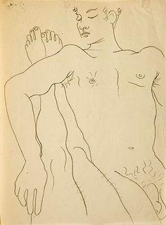 Drawing by Jean Cocteau, illustrating Jean Genet's Querelle de Brest.