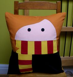 Red Head Girl Pillow by PantoufledeVerre on Etsy, $40.00