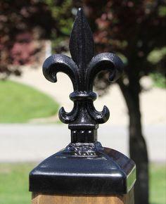 Wrought Iron Fleur-de-lis Post Cap for 4x4 wood / composite Post, Gate, Fence, Mailbox post cap