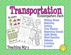 Transportation Kindergarten Pack