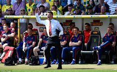 Van Gaal makes a rare foray from the Manchester United bench to complain about a decision in the second half