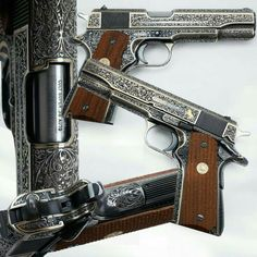 Fully engraved Colt 1911 in Super from the Peterson Collection at the NRA Museum Phillip Michael's Interpretation: 1911 Pistol, Colt 1911, Revolver, Weapons Guns, Guns And Ammo, Engraved Pocket Knives, Engraved 1911, Custom Guns, Fire Powers